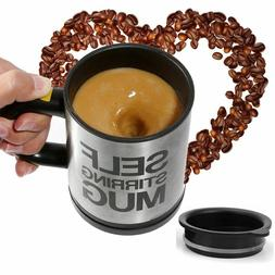 Black Self Stirring Mug Coffee Cup Tea Auto Mixer Drink Insu
