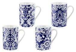 Blue and White Designed Print 4-Piece Coffee Mugs Tea Gift S