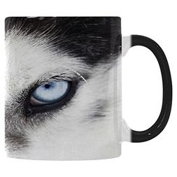 InterestPrint Blue Eyes of Wolf Morphing Mug Heat Sensitive