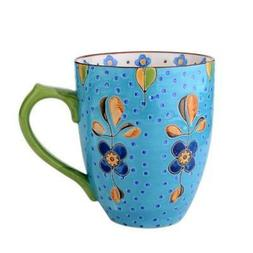 Blue Floral Handcrafted Dutch Ceramic Mug