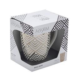 Mikasa Bone China Coffee Mug, 16-Ounce, Geo Diamond White/Go