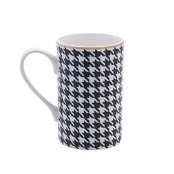 Mikasa Bone China Coffee Mug, 16-Ounce, Houndstooth Black/Wh