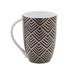 Mikasa Bone China Coffee Mug, 16-Ounce, Geo Diamond Black/Go
