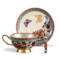 Panbado Bone China 6.8 oz Tea Cup and Saucer Set with Spoon,