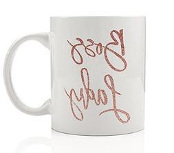 Boss Lady Coffee Mug Faux Pink Glitter Inspirational Motivat