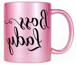 Boss Lady Pink Coffee Mug, Women's Pretty Gift for Her, Mom
