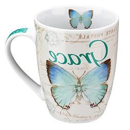 """Botanic Butterfly Blessings Blue """"Grace"""" Mug - Ephesians 2:8"""