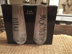 rae dunn bride and groom set of two 10 oz stemless flutes