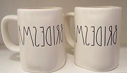 Rae Dunn BRIDESMAID LL White Ceramic Mug Pair