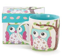 Bright Teal & Pink Calico Owl Coffee Mug.