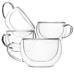 BTäT- Insulated Espresso Cups, Glass Tea Cups, Set of 4 , G