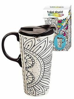 Cypress Home Burst of Color Coloring Book Ceramic Travel Cof