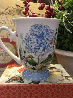 Burton + Burton~Footed Mug~Hydrangeas/Floral/Polka Dot Base~