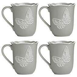 Lenox Butterfly Meadow Carved Dinnerware Slate Mug Set of 4