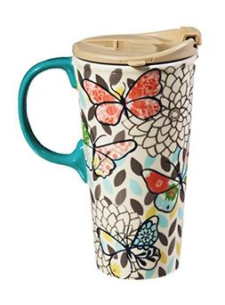 Cypress Home Butterfly Pastels Ceramic Travel Coffee Mug, 17