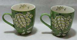 Dutch Wax by Coastal Imports Handpainted Ceramic Green Flora