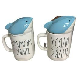 Rae Dunn by Magenta Mommy & Daddy Shark Mug With Topper Set