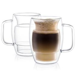 JoyJolt Cadus Glass Coffee Cups Double Wall Insulated Mugs S