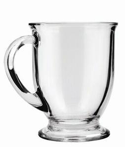 Anchor Hocking Cafà Glass Coffee Mugs, Clear, 16 oz