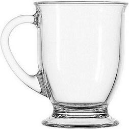 Anchor Hocking Cafe Coffee Mug Set 4-Piece Clear Glass Teacu