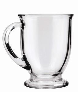 Anchor Hocking Cafe Glass Coffee Mugs 16 oz Set of 6 Thick H