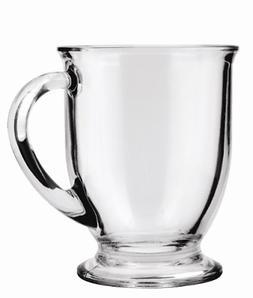 Anchor Hocking Café Glass Coffee Mugs, Clear, 16 oz Set of