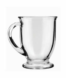 Anchor Hocking Café Glass Coffee Mugs, Clear, 16 oz