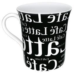 Konitz 12-Ounce Cafe Latte Writing On Black Mugs, Black/Whit