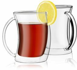 JoyJolt Caleo Collection Glass Coffee Cups Double Wall Insul