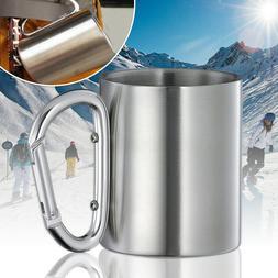 220ml Outdoor Camping Cup Stainless Steel Coffee Mug Carabin