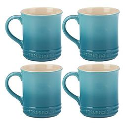 Le Creuset Caribbean Stoneware 12 Ounce Coffee Mug, Set of 4