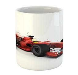 Cars Mug by Ambesonne, Generic Formula 1 Racing Car Illustra