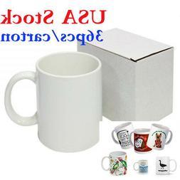 36pcs/carton Blank White Mugs A Grade 11OZ Heat Press Sublim