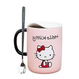 YOURNELO Cartoon Cute Hello Kitty Cat Smooth Ceramic Coffee