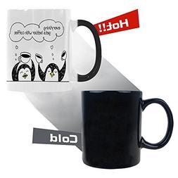InterestPrint Cartoon Penguins Morphing Mug Heat Sensitive C