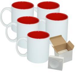 Case of 12 Pcs 11oz Sublimation Blank Two Tone White Red Mug