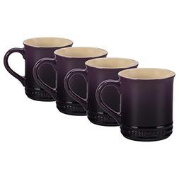 Le Creuset Cassis Stoneware 12 Ounce Coffee Mug, Set of 4