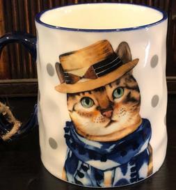 10 Strawberry Street Cat Lover Fine Ceramic Mugs   NEW! Free