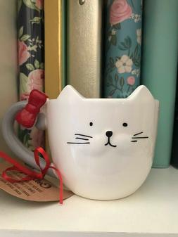 10 Strawberry Street Cat Mug With Red Bow