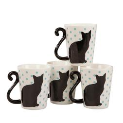 Cat Tail 10 Ounce Coffee and Tea Mugs by Home Style Kitchen,