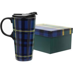CEDAR HOME Travel Coffee Ceramic Mug Porcelain Tea Cup Lid G