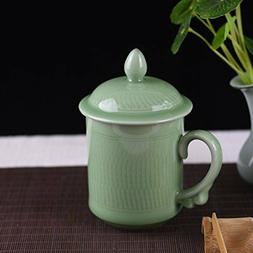 Celadon Coffee Mugs with Lid 15oz Porcelain Teacups