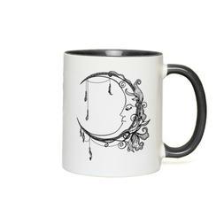 Celestial Floral Moon Wicca Coffee Mug Tea Cup Witch Art Dec