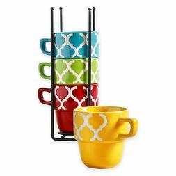 Ceramic 5 Pcs. Stacking Coffee Mug Set With Rack - Tile