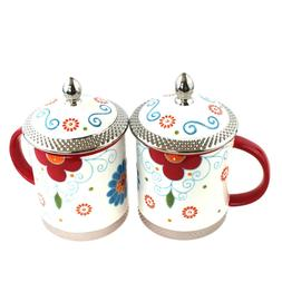 2pcs Ceramic Chinese Porcelain Tea Mug Cup with lid & Infuse