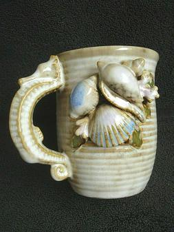 Ceramic Coffee Cup Sea Horse Handle 3D Shells NEW