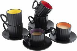 Bruntmor Ceramic Coffee Cups & Saucers Set of 6 Ribbed Desig
