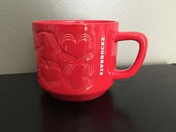 Starbucks Ceramic Coffee Mug Cup Red Hearts 2019 Valentine L