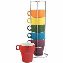 Gypsy Color 12 OZ. Cappuccino Stacking Coffee Mug Set with M