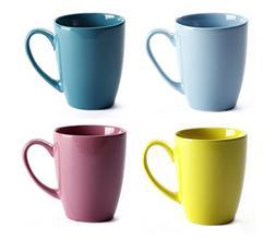 LEANDALE 12 OZ Ceramic Coffee Mug Tea Milk Cup Set of 4 Mult